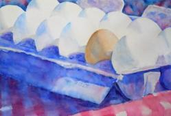 """Odd Egg,"" watercolor by Dr. Ralph F. Wilson, 20"" x 14""."